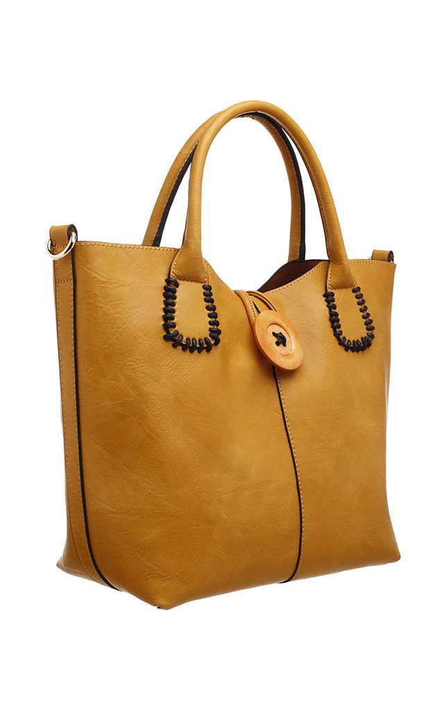 WOODEN BUTTON BAG-IN-BAG TOTE YELLOW by BESSIE LONDON