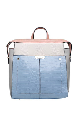 CROC PRINT MULTI COLOUR BACKPACK BLUE by BESSIE LONDON