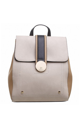 TRIPLE COLOUR FLAP-OVER BACKPACK BEIGE by BESSIE LONDON