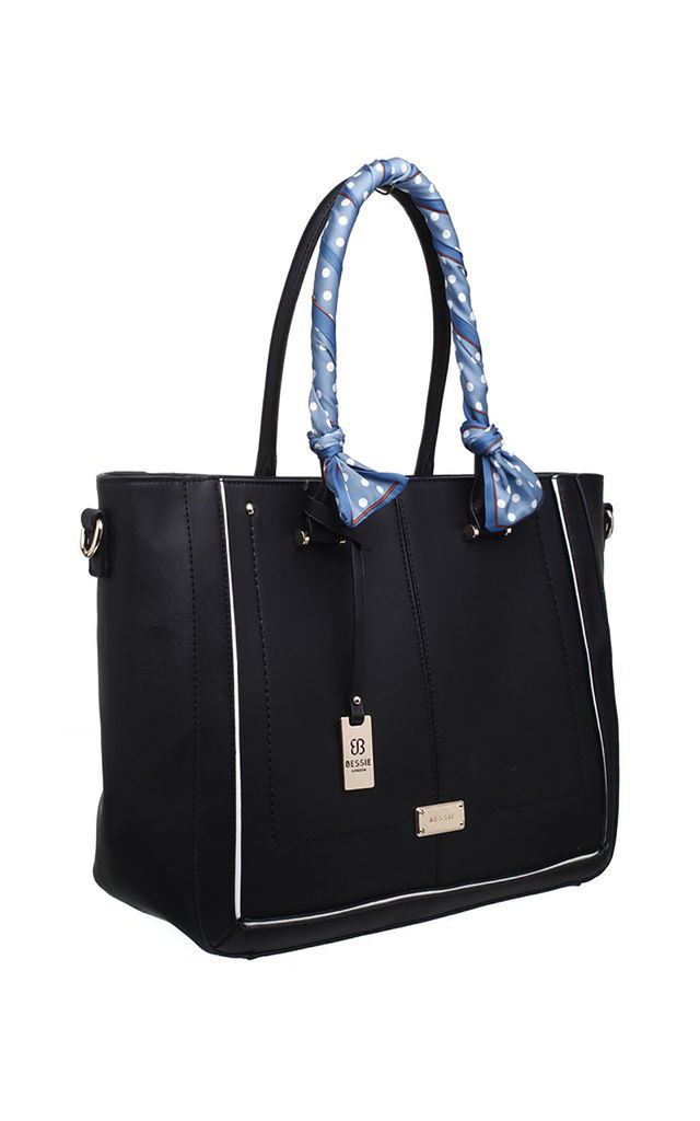 LARGE RIBBON TOTE BLACK by BESSIE LONDON
