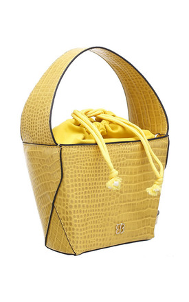 SMALL CROC PRINT BUCKET BAG YELLOW by BESSIE LONDON