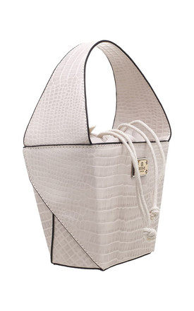 SMALL CROC PRINT BUCKET BAG BEIGE by BESSIE LONDON