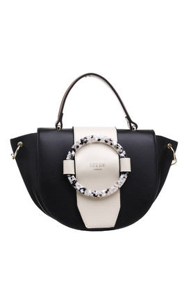 ACRYLIC RING FLAP OVER TOP HANDLE BAG BK-WT by BESSIE LONDON
