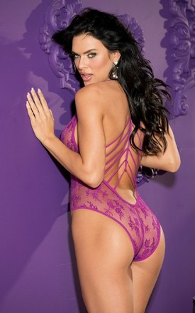 Purple Strappy Back Body Suit by BB Lingerie