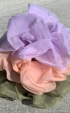 Oversized Organza Hair Scrunchie in Rose Pink by One Nation Clothing