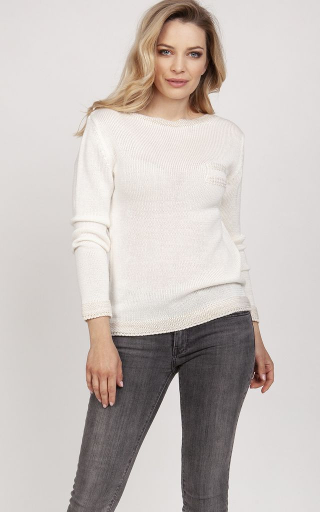 Simple sweater - ecru by MKM Knitwear Design