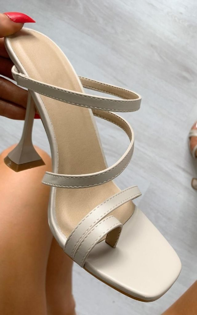 Ingrid Strappy Statement High Heels in Nude by IKRUSH