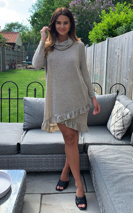 Adara – Cowl Neck Frill Hem In Beige Tunic by Blue Vanilla Product photo
