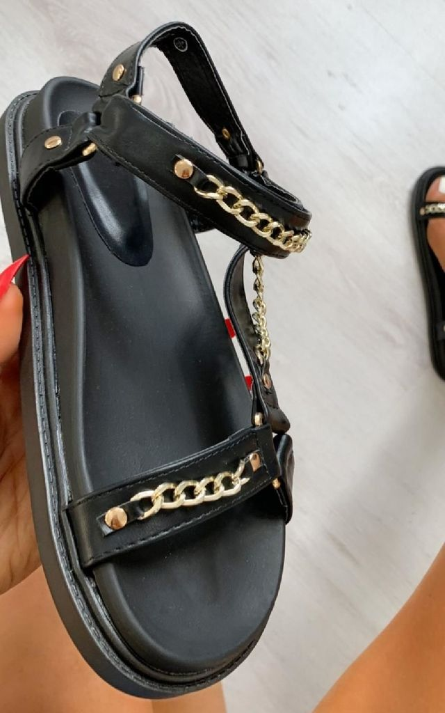 Kaya Strappy Chain Sandals in Black by IKRUSH