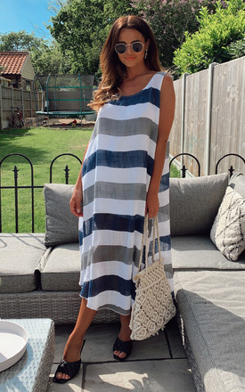 White, Grey And Navy Stripe Midi Dress by Bella and Blue Product photo