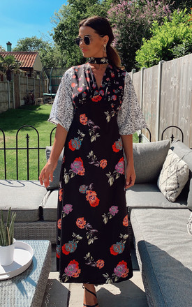 Maxi Dress With Choker In Mixed Floral Print by Phoenix & Feather Product photo