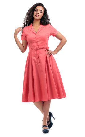 Caterina Swing Shirt Dress in Orange by Collectif Clothing