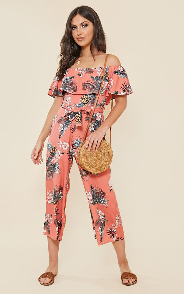 Tropical Print Bardot Jumpsuit by FreeSpirits