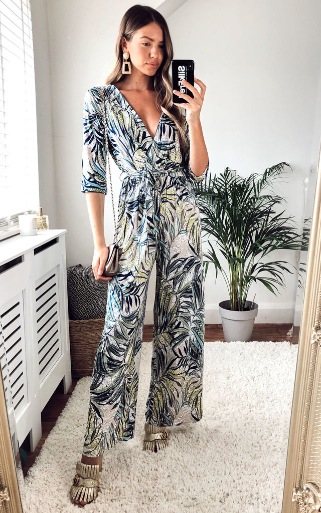 Tropical Print Wrap Jersey Jumpsuit In Mint, Grey and Lime by KURT MULLER