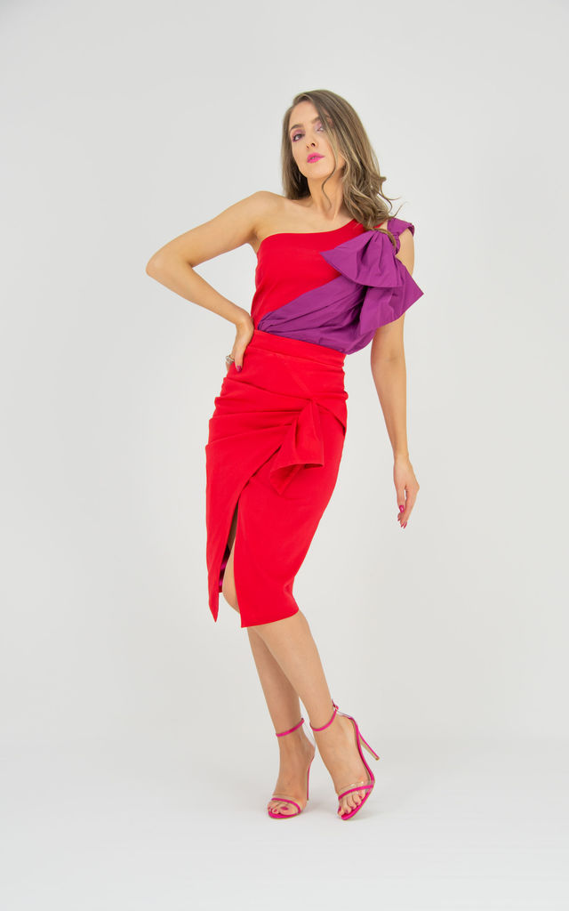 Glam Leisure Asymmetric Midi Skirt in Red by Tia Dorraine London