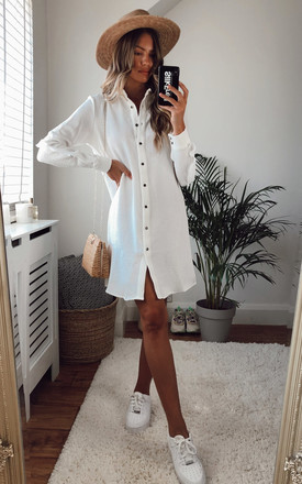 White Mini Shirt Dress With Frill On The Sleeves by DIVINE GRACE Product photo