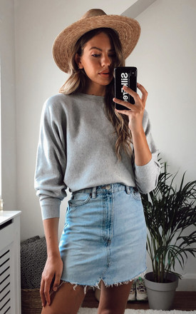 Long Sleeve Knitted Top In Light Grey by Noisy May Product photo