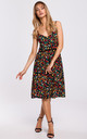 Spaghetti Strap Summer Dress in Multicolour Floral Print by MOE