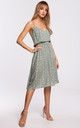 Spaghetti Strap Summer Dress in Grey Floral Print by MOE
