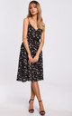 Spaghetti Strap Summer Dress in Black Floral Print by MOE