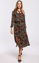 Midi Length Dress with Slits in Multicolour Floral Print by MOE