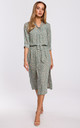 Midi Length Dress with Slits in Grey Floral Print by MOE