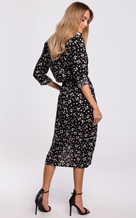 Midi Length Dress with Slits in Black Floral Print by MOE