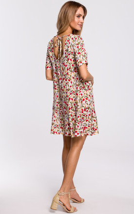 Mini Dress with Open Back in White Floral Print by MOE
