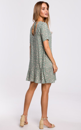 Mini Dress with Open Back in Grey Floral Print by MOE
