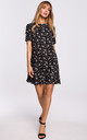 Mini Dress with Open Back in Black Floral Print by MOE