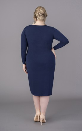 Plus Size Navy dress long sleeves by Perfect Dress Company