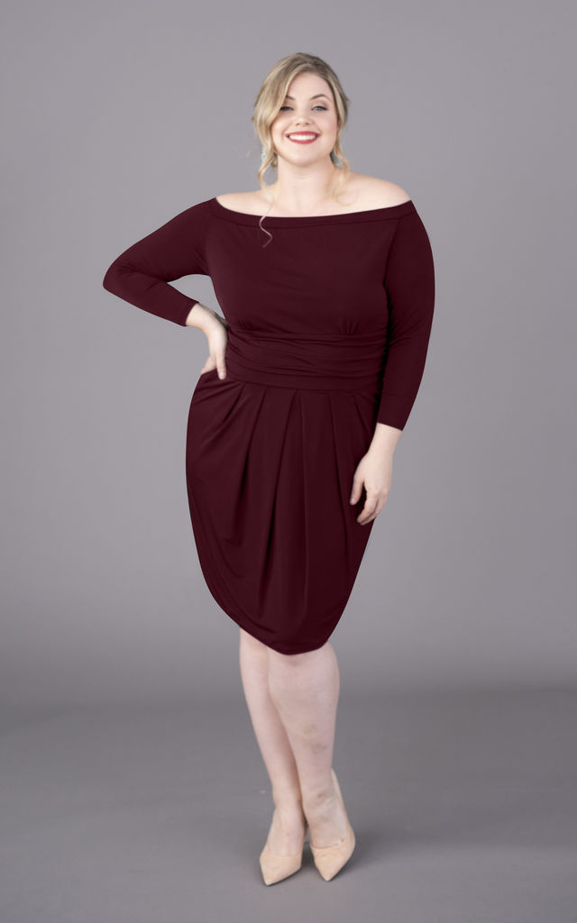 Plus Size Burgundy Off The Shoulder Bardot Long Sleeve Dress by Perfect Dress Company