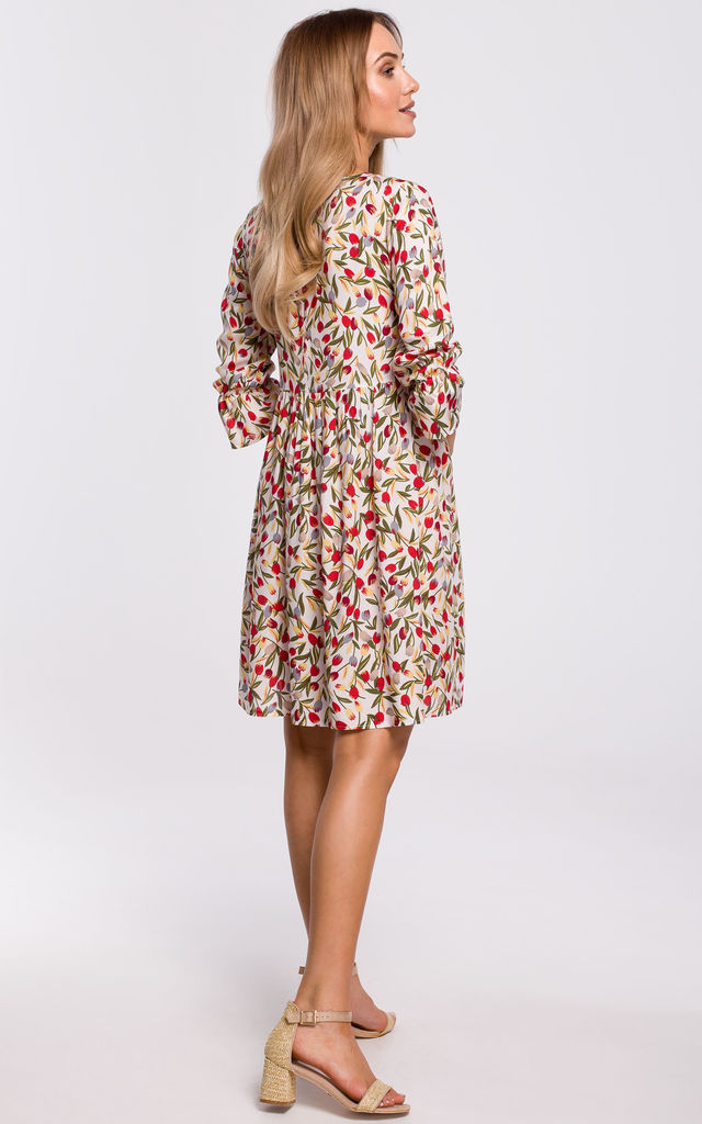 Mini Dress with Frilled Sleeves in White Floral Print by MOE