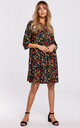 Mini Dress with Frilled Sleeves in Multicolour Floral Print by MOE