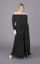 Plus Size Black Off The Shoulder Bardot Maxi Dress Long Sleeves by Perfect Dress Company