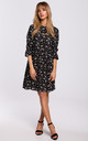Mini Dress with Frilled Sleeves in Black Floral Print by MOE