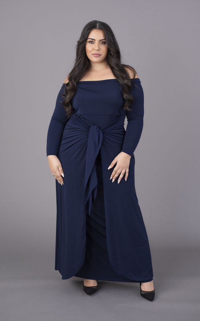 Plus Size Navy Off The Shoulder Bardot Maxi Dress Long Sleeves by Perfect Dress Company