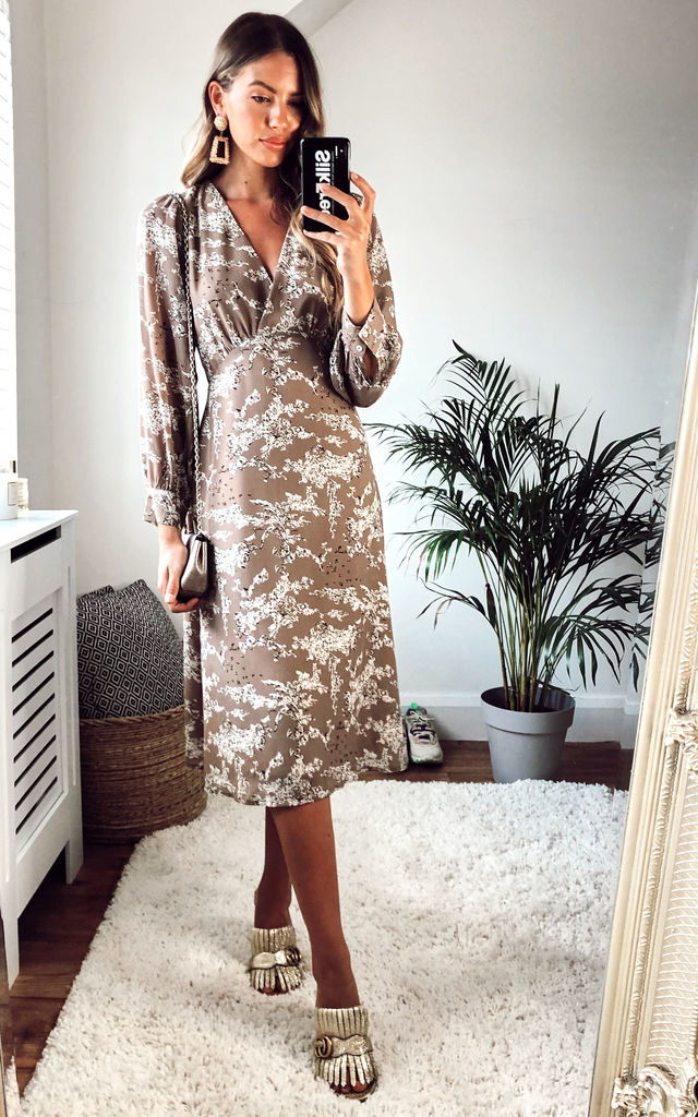 Long Sleeve V-wrap Midi Dress in Nude Floral by Another Look