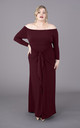 Plus Size Burgundy Wine Long Sleeve Bardot Off The Shoulder Maxi Dress by Perfect Dress Company