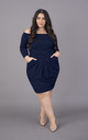 Plus Size Navy Off The Shoulder Bardot Long Sleeves Dress by Perfect Dress Company