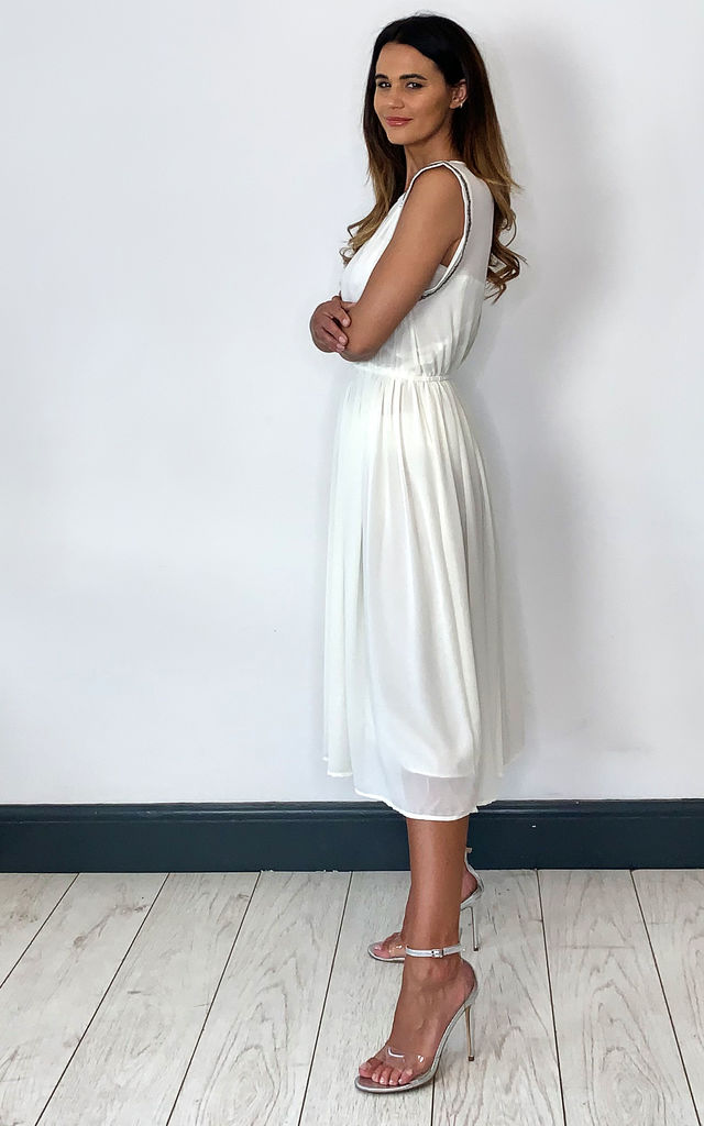Chiffon midi dress with beaded shoulder in white by Shikha London