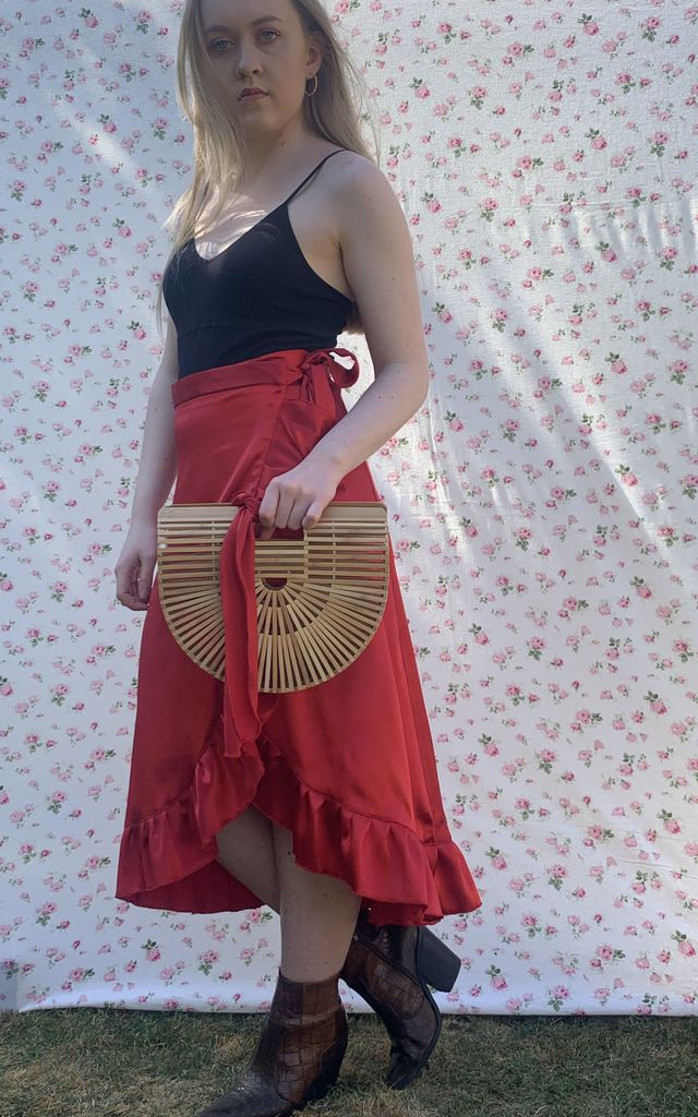Cherry Silk Mia Midi Wrap Skirt by Lazy Gurl