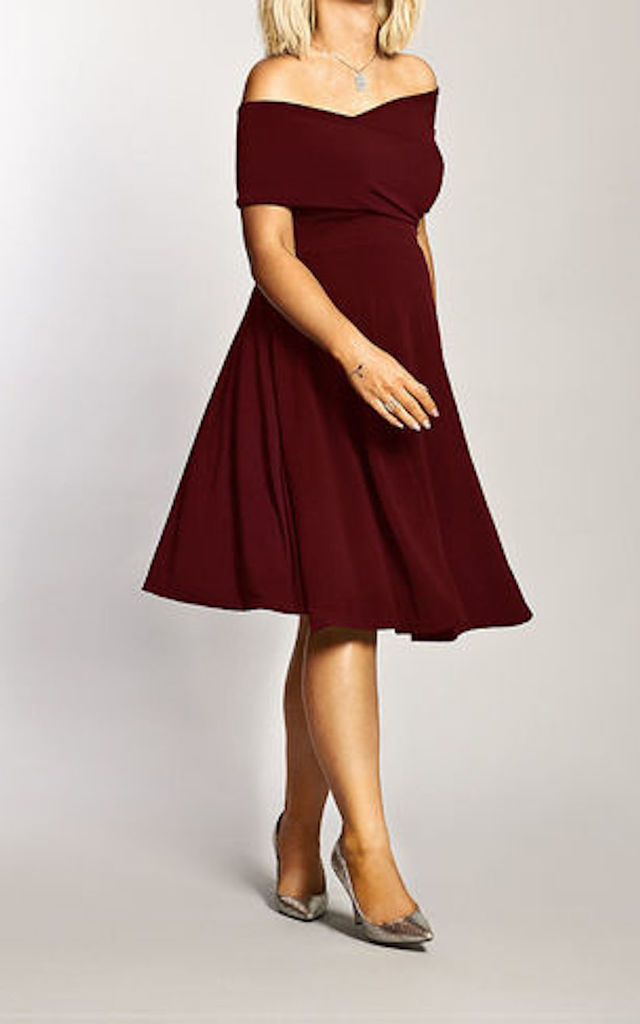 Maternity Wine Bardot Twist Front Detailed Dress by Want That Trend Maternity