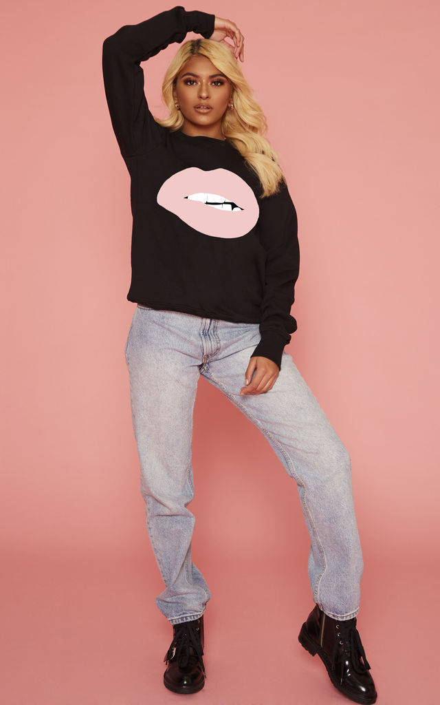 Oversized Black Sweatshirt With Pink Lips and Diamond on Tooth by Salt by CC