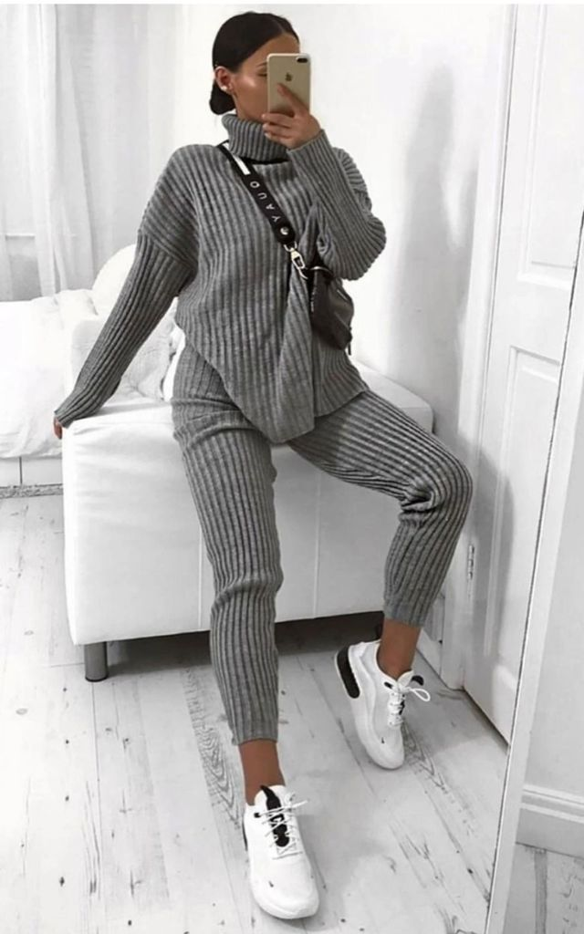 Grey Chunky Ribbed Knit Co ord Roll Neck Lounge set by GIGILAND UK