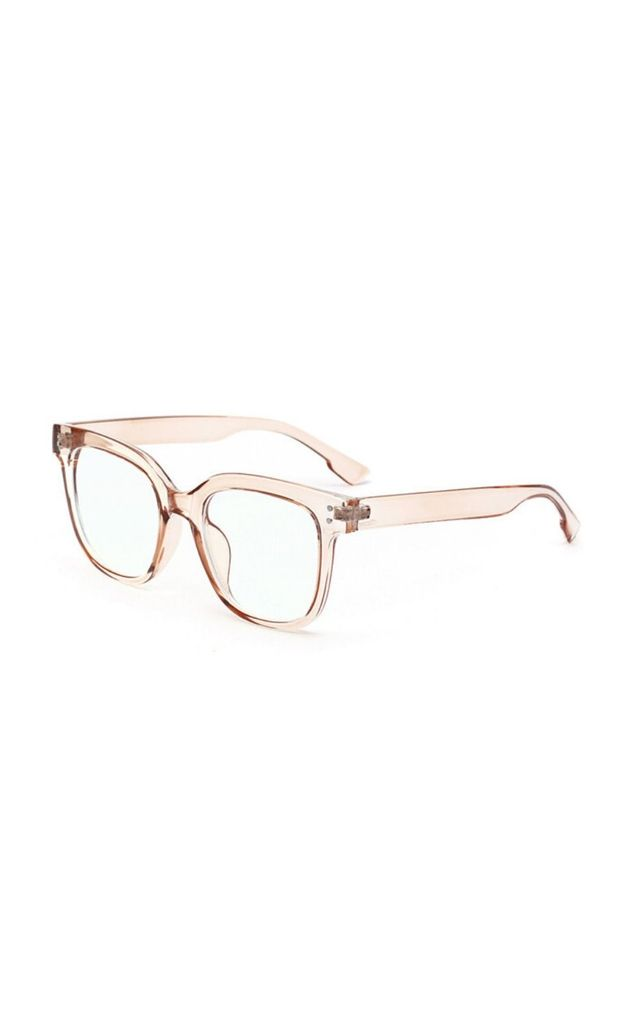 Katerina Block Frame Blue Light Glasses Brown by Don't Be Shady