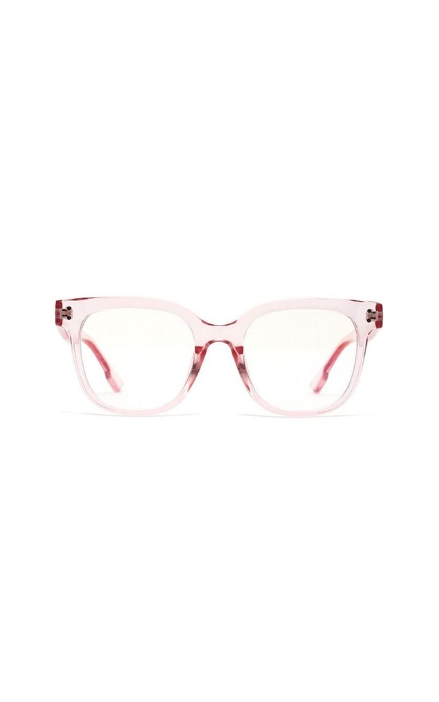 Katerina Block Frame Blue Light Glasses Pink by Don't Be Shady