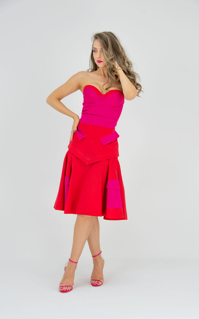 High Waist Midi Skirt With Side Pockets and Detachable Belt (Red) by Tia Dorraine London