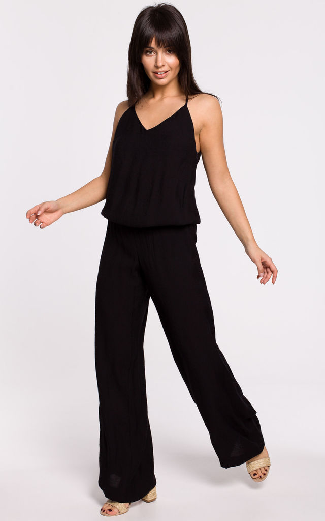 Wide Leg Jumpsuit on Straps in Black by MOE