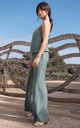 Wide Leg Jumpsuit on Straps in Green by MOE